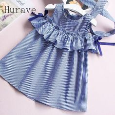 Hurave 2017 Summer ruffles girls dress girl clothing sleeveless striped dress for girl summer robe fille with hair bands Little Dresses, Little Girl Dresses, Girls Dresses, Trendy Dresses, Little Girl Fashion, Fashion Kids, Sewing Dress, Sewing Clothes, Baby Dress