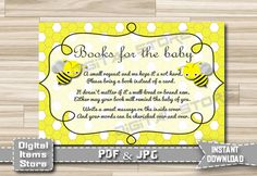 Baby Shower Bring a Book Instead of a Card - Invitation Insert Card - Insert Card - Yellow - Bee - Invitation Insert Card - INSTANT DOWNLOAD by DigitalitemsShop on Etsy
