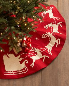 H7F7L Gathered Traditions by Joe Spencer Santa & Sleigh Christmas Tree Skirt