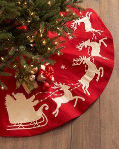 H7F7L Gathered Traditions by Joe Spencer Santa & Sleigh Christmas Tree Skirt