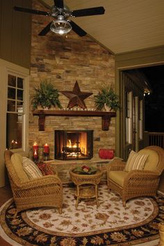 love the style of living room, must be a Texas home like degree of variety in stone and size