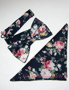 Navy blue floral bow tie Men's pre-tied wedding bow tie & optional pocket square Groom and Groomsmen bow ties Pink roses bowtie. Pocket Square Size, Floral Bow Tie, Bow Tie Wedding, Navy Blue Background, Shoes Heels Pumps, Pink Roses, Floral Prints, Bows, Bow Ties