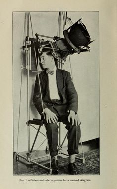 Patient posing for a mastoid skiagram (x-ray of the inner ear), 1909.  Medical Heritage Library (American quarterly of Gerontology v.2 no. 1 (December 1909))