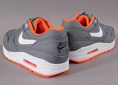Nike Air Max 1 PRM Grey Crimson 4 Nike Air Max 1   Grey Denim Twill   Orange