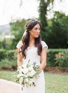 Bride - Lace Wedding Gown by Lela Rose -- Photography: Loft Photographie LLC - www.loftphotographie.com  See More on #SMP right here: http://www.StyleMePretty.com/2014/04/18/elegant-garden-wedding-in-austin/