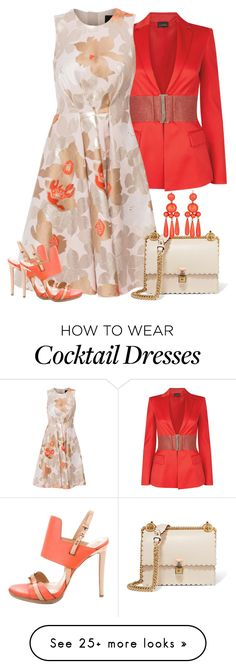 """Coral Floral Dress"" by majezy on Polyvore featuring La Perla, Paule Ka, Fendi and Reed Krakoff"