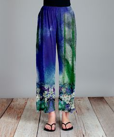 Look what I found on #zulily! Blue & Green Floral Palazzo Pants - Plus…