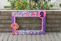 Personilized photo frame prop, I can work with any theme and colors... Please check and choose from the sizes I offer. Photo frames take 2-3 weeks to ship, but in certain cases I can take rush orders, please do not hesitate to contact me if you have a rush order, Ill do my best to help! Girl Paw Patrol Party, Sky Paw Patrol, Paw Patrol Birthday Theme, 2nd Birthday Party Themes, Girl Birthday Decorations, 3rd Birthday, Birthday Ideas, Paw Patrol Party Decorations, Puppy Birthday