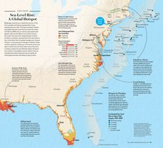 """Sea-Level Rise: A Global Hotspot [Map by XNR Productions, for """"Storm of the Century (Every Two Years)"""" by Mark Fischetti, Scientific American, June 2013]"""