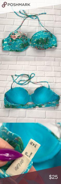 Aerie tropical push-up bikini top Aerie tropical print push-up bikini top, removable halter straps GUC aerie Swim Bikinis