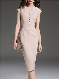 Plus Size Apricot Elegant Solid Sheath Crew Neck Midi Dress Cute Dresses, Beautiful Dresses, Short Dresses, Dresses For Work, Work Fashion, Modest Fashion, Fashion Dresses, Fashion Design, Sheath Dress