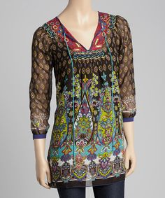Look what I found on #zulily! Black Paisley Tie-Neck Tunic by Mystery #zulilyfinds