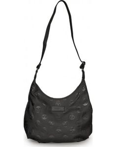 Black Embossed Skulls Crossbody Bag