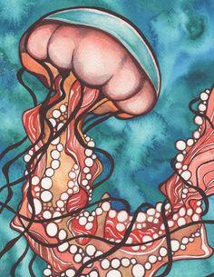Coral mar ortiga medusas 8.5 x 11 impresión por DeepColouredWater