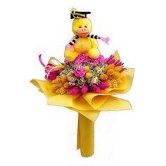 Ballagási szárazvirág csokor sárga kacsával - Szárazvirág díszek webáruháza