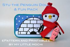 Penguin doll made to fit in a mint tin with printables
