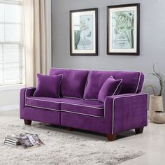 Modern Two Tone Purple Velvet Fabric Living Room Love Seat Sofa #Unbranded #Modern