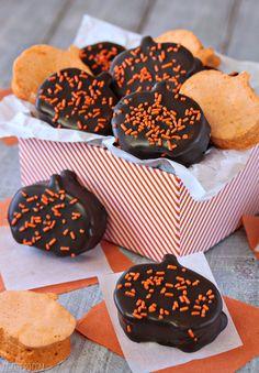 Chocolate-Dipped Pumpkin Marshmallows   From SugarHero.com