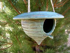 Ceramic Birdhouse - Green Patina - Hanging Bird House - Yard Decoration