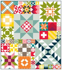 Moda Modern Building Blocks Quilt Pattern PS9900  So many renditions of this pattern on blogs  this is one I would like to make.