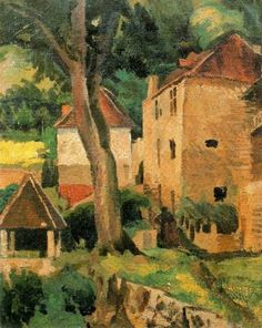 Pere Daura - Racó de la casa d'Henri Martin Gazebo -1932. Oli sobre tela. 46 x 68 cm.- Ciudad de la pintura - La mayor pinacoteca virtual