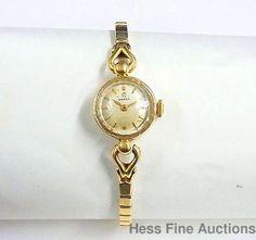 Vintage 1950s Omega Ladies 17 Jewel 14K Gold Ladies Working 17J Wristwatch NR #Omega #Dress