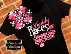 Daddy Races we Shop Checkered Applique Black by BowHeadBowtiqueInc, $28.00