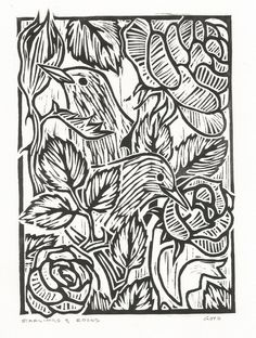 Starlings and Roses, Woodcut.