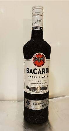 Bacardi glitter bottle black, fles zwart