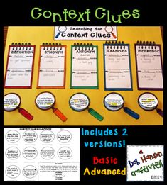$ CONTEXT CLUES CRAFTIVITY! Teach five types of context clues with this activity: definition, synonym (restatement), antonym (contrast), example, and inference. Students read ten sentences and determine the meaning of the underlined words AND the type of context clue they used to identify the meaning. This is differentiated so that it can be used across multiple grade levels. http://www.teacherspayteachers.com/Product/Context-Clues-Craftivity-370631