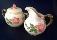 """Vintage Franciscan Pottery - Cream and Sugar Set.  Both are marked in black """"Franciscan Ware"""" stamped in a circle.   Also stamped is """"Made in California USA"""" and """"Hand Decorated"""", and the decorator's number stamped in black ink below the word """"decorated"""".  This indicates the pieces were made between 1947 and 1949!  LOVE them!"""