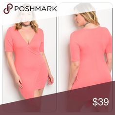 Plus Coral Dress New listing: 3/29/17-This gorgeous ribbed knit dress is perfect for spring and summer. (This closet does not trade) Boutique Dresses Midi