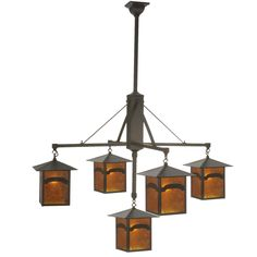 37 Inch W Seneca Mountain View 5 Lt Hanging Lantern Chandelier - Custom Made. 37 Inch W Seneca Mountain View 5 Lt Hanging Lantern ChandelierAn abstract mountainside design comes to light withthese striking Solid Brass lanterns, which featureAmber Mica diffusers embraced by a cross-bar styledframe. The luminaires are complemented with hardwareand accents featured in a warm Craftsman Brown finish.This Craftsman Signature fixture is handcrafted by Meyda artisans in our Yorkville, New York…