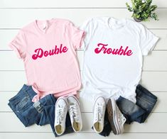 Trendy Funny Shirts For Girls Bff Etsy 37 Ideas Bff Shirts, Sorority Shirts, Best Friend Shirts, Shirts For Girls, Funny Shirts, Friends Shirts, Sorority Life, Popular Colors, Double Trouble