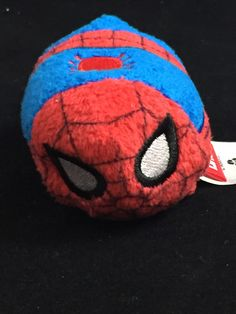 "MARVEL Spiderman Mini Tsum Tsum. This mini size plush measures approximately 3.5"" long. Embroidered Features Soft, Squeezable fill with beans in the belly Fuzzy Plush Texturing Part of the Disney ""Tsu"