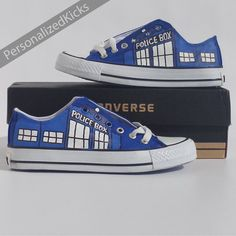 Doctor Who Shoes, Tardis Converse Hand Painted Custom Personalized Dr Who Low Top Kicks