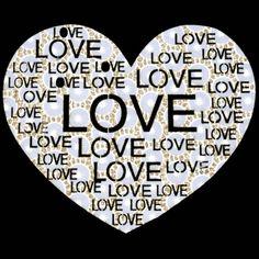9x7  - LOVE GOLD & WHITE HEART - (FABRIC / STONES) - bargain rhinestones, Bargain Rhinestones/Rhinestuds, Material Transfer