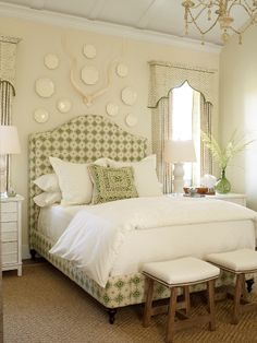 .upholstered bed + draperies