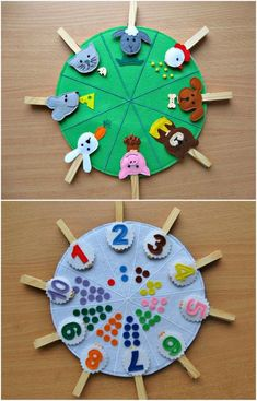Double sided felt educational toys, matching number busy bag, animals and their food, preschool learning, clothespins game Doubles faces jouets éducatifs feutres correspondance numéro This toy is for children over 2 years. Made of felt in the form of bi Montessori Materials, Montessori Activities, Preschool Learning, Toddler Activities, Preschool Activities, Montessori Education, Teaching, Montessori Kindergarten, Montessori Toddler