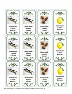 Homemade Vanilla, Lemon & Almond Extracts complete with Printable Homemade Extract Labels Homemade Liquor, Homemade Spices, Homemade Seasonings, How To Make Homemade, Homemade Gifts, Diy Gifts, New Recipes, Cooking Recipes, Favorite Recipes