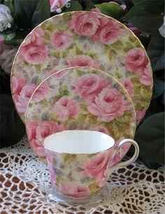 Heirloom Lady Diana Rose Chintz Bone China Tea Cup, Saucer & Plate Trio
