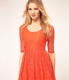 orange lace dress with sleeves
