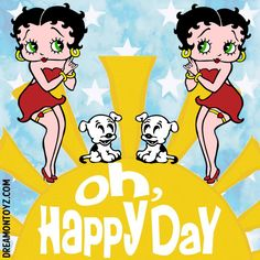 Click on picture for largest view Betty Boop Images, Quotes and Sayings - Good Day Have a Lovely Day - Fairy Betty Boop sitting on a t...