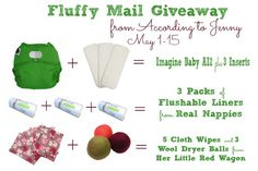 Fluffy Mail #giveaway! @Shari Snider Baby Products AI2, @lisa Choe Nappies Flushable Inserts, and Her Little Red Wagon Wipes and Dryer Balls. Ends 5/15/13.