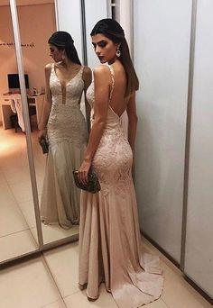Straps Backless Prom Gowns,Prom Dresses,A-line peon dress CR 5868 Lace Evening Dresses, Prom Dresses, Formal Dresses, Wedding Dresses, Open Back Dresses, Mode Hijab, Dress Backs, Ideias Fashion, Backless