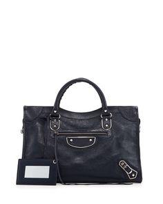 Metallic Edge City Goatskin Bag, Dark Blue by Balenciaga at Neiman Marcus.