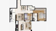 Planta do apto de 69 m² com 2 dorms (1 suite)