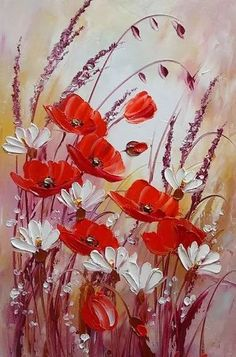 Items similar to Red Poppies Original Oil Painting Meadow IMPASTO White Daisies Flowers Impression Garden Floral Palette Knife Textured art Europe Artist COA on Etsy Oil Painting Flowers, Painting & Drawing, Knife Painting, Painting Canvas, Canvas Canvas, Garden Painting, Flower Paintings, Painting Videos, Painting Lessons