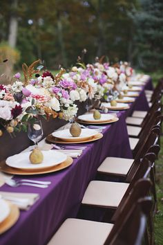 Fall Wedding Tablescapes to Impress - Mon Cheri Bridals wedding fall ideas / april wedding / wedding color pallets / fall wedding schemes / fall wedding colors november Jewel Tone Wedding, Purple Wedding, Wedding Colors, Wedding Flowers, Purple Party, Mod Wedding, Wedding Table, Fall Wedding, Reception Table