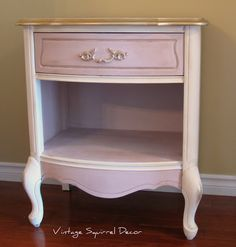 French Provincial nightstand painted in Annie Sloan Antoinette and Old White Chalk Paint.  Accented with Gold Gilding Wax.